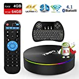 TV Box Android 8.1, EstgoSZ T95Q 4GB 64GB Android Box S905X2 Quad-core 64bit 2.4G/5G WiFi/USB3.0/KD18/H.265/4K/ HDMI2.1/100M/1000M LAN/BT 4.1 Smart TV Box with Wireless Backlit Keyboard