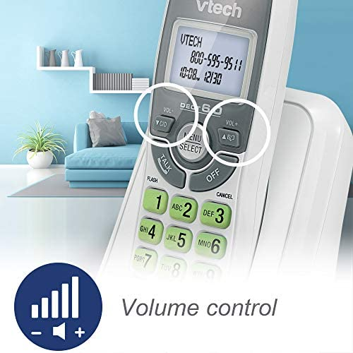 VTech CS6114 DECT 6.0 Cordless Phone with Caller ID/Call Waiting, White/Grey with 1 Handset 17