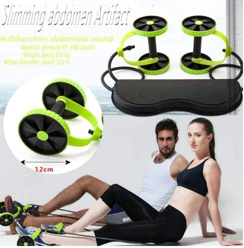 Tofreedomwind Abdominal Multifunctional Exercise Equipment Ab Wheel Double Roller with Resistance Bands/Knee mat Waist Slimming Trainer at Home Gym 6
