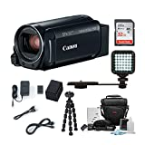 Canon VIXIA HF R800: 1080p HD Video 57x Zoom Camcorder Bundle with 32GB SD Card LED Video Light Spare Battery Camera Case Mini Tripod and Cleaning Kit - Compact and Affordable Camcorder Kit