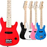 WINZZ 30' Real Kids Electric Guitar with Beginner Kit, Red