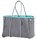 QOGiR Neoprene Multipurpose Beach Bag Tote with Inner Zipper Pocket and Movable Board (Elegant Grey, Large)