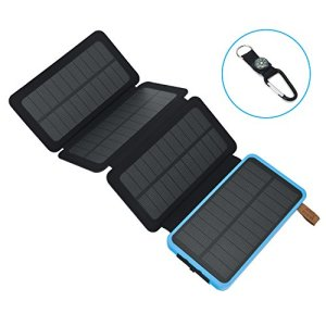 AZOT 12000mAh Solar Charger Power Bank Waterproof Portable External Battery Backup with Dual USB for Android iPad iPhone Cellphones, LED Flashlight with Compass for Emergency