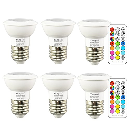 Yangcsl LED Color Changing Light Bulbs with Remote, RGB + Daylight White, 45° Beam Angle and Memory, E26 3W Mood Ambiance Lighting (6 Pack)