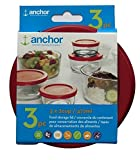 Anchor Hocking Replacement Lid 2 Cup/472 ml, set of 3 lids, red round