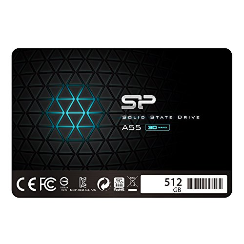 Silicon Power 512GB SSD 3D NAND A55 SLC Cache Performance Boost SATA III 2.5' 7mm (0.28') Internal Solid State Drive (SP512GBSS3A55S25)