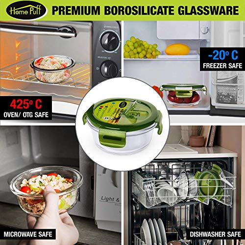 51wU8mOKjfL - Home Puff Borosilicate Glass Lunch Box H29 Microwavable, AirVent Lid, Premium Carry Bag (320 ML, Set of 4)
