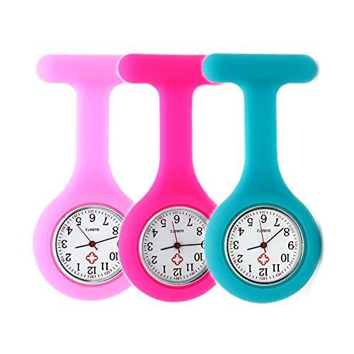 Set of 3 Nurse Watch Brooch, Silicone with Pin/Clip, Infection Control Design, Health Care Nurse Doctor Paramedic Medical Brooch Fob Watch – Pink Rose Blue deal 50% off 51wUMoeBfTL