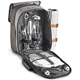 VonShef 2 Person Premium Picnic Outdoor Backpack Bag with Blanket - Woven Grey Waterproof Finish, Includes 17 Piece Dining Set and Insulated Cooler Compartment to Keep Food Chilled