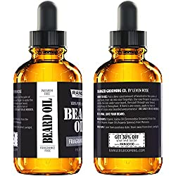 Fragrance Free Beard Oil & Leave in Conditioner, 100% Pure Natural for Groomed Beards, Mustaches, and Moisturized Skin 1 oz by Ranger Grooming Co by Leven Rose (Beard Oil)  Image 4