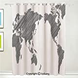 World Map Grommet Blackout Window,Sketchy Striped Continents Cartography Geography Countries Worldwide Art Decorative,for Bedroom&Living Room&Patio Sliding Doors,2 Panels Set,108 X 72 Inches,Charcoal