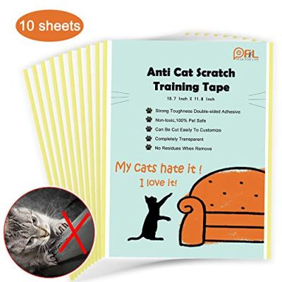 10 Sheets Cat Scratching Deterrent Tape, No Residue Anti Scratch Cat Training Tape for Couch, Removable Double Sided…