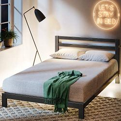 Zinus Arnav Modern Studio 10 Inch Platform 2000H Metal Bed Frame / Mattress Foundation / Wooden Slat Support / With Headboard / Good Design Award Winner, Queen
