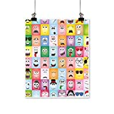 Rich in colorSet of Internet Cartoon Meme Funny Facial Gesture Emotion Icons Digital Illustration Multi Print Decor for Living Room,32'W x 60'L/1pc(Frameless)