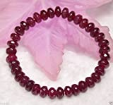 Handmade 5x8mm Natural Faceted Red Ruby Gemstone Beads Stretchy Bracelet 7.5'