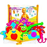 Non-Toxic Foam Bath Toys - Early Learning Bath Toy - Foam Geometric Shapes Puzzles Animals - Fun Floating Educational Toys For Toddlers Kids Boys Girls - Mesh Bath Toy Organizer - Free Fishing Rod