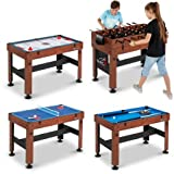 54' 4-in-1 Combo Entertainment Game Table with Soccer, Slide Hockey, Table Tennis, and Billiards (54', 4-in-1 Games)