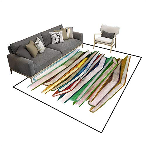 Extra Large Area Rug Watercolor Sketch of Stack of Books 6'x7' (W180cm x L210cm
