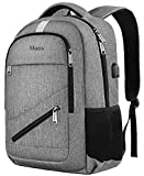 MATEIN Travel Laptop Backpack,NTE Laptop Backpack,Durable High School Backpack for Women Men,Business Computer Bag with USB Charging Port,Waterproof College Student Bookbag Fit 15.6 Inch Laptop-Grey