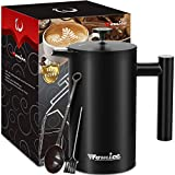 Double-Wall 304 Stainless Steel French Press Coffee Maker - 34 oz, Vacuum Insulated Tea Brewer Pot with 4 Level Filtration System - Extra 2pcs Filters Included - 8 Cup/1000ml