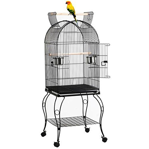 Yaheetech 59' Rolling Standing Medium Dome Bird Cage Open Top Quaker Parrot Cockatiel Sun Parakeet Green-Cheek Conure Canary Lovebird Budgie Parrotlet Finch Cage with Detachable Stand
