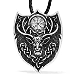 Paw Paw House Celtic Legendary Aegishjalmur Pendant Necklace Norse Viking Icelandic Fire Symbol Amulet Stag Animal Power 4022