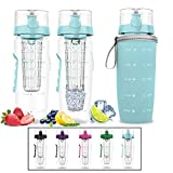 Bevgo Fruit Infuser Water Bottle – Large 32oz - Hydration Timeline Tracker – Detachable Ice Gel Ball with Flip Top Lid - Quit Sugar Multiple Colors with Recipe Gift Included