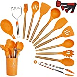 Annvchi 14 Pieces Silicone Cooking Utensils Kitchen Utensil Set with Holder, Acacia Wooden Cooking Tool Turner Tongs Spatula Spoon for Nonstick Cookware - Best Kitchen Tools Gadgets (Orange) ...