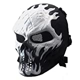 Annay Skull Skeleton Full Face Airsoft Mask with Metal Mesh Eye Protection Army Tactical Mask for Halloween Airsoft BB Paintball Gun CS Game Cosplay and Masquerade Party Wildfire
