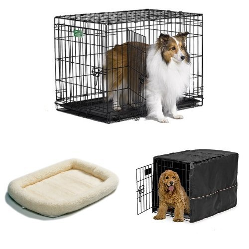 30-Inch Double Door iCrate with Fleece Bed and Cover
