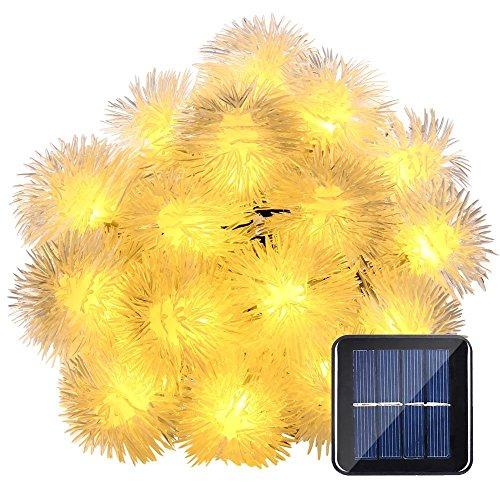Qedertek Pom Pom Solar Christmas Lights 15 7ft 20 Led