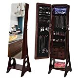 SONGMICS 8 LEDs Jewelry Cabinet Armoire with Beveled Edge Mirror, Gorgeous Jewelry Organizer Large Capacity Brown Patented Mother's Day Gift UJJC89K