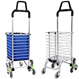 Portable Folding Stair Shopping Cart, Double Handle Heavy Duty Rolling Grocery Climber Carts, Light Weight Trolley with 8 Wheel Aluminum Rolling Swivel (Green Wheels #2)