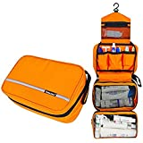 Cosmetic Pouch Toiletry Bags Travel Business Handbag Waterproof Compact Hanging Personal Care Hygiene Purse (Orange)