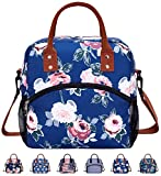 Stylish Durable Insulated Reusable Cooler Lunch Bag - Office Work Picnic Hiking Tote Lunch Box with Removable Shoulder Strap for Women Men-Blue Flower