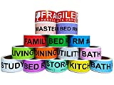 800 Count Home Moving Color Coding Labels, 4 Bedroom House + Fragile Stickers, [14 Different Living Spaces + 2 Rolls Handle With Care, 16 Rolls Total, 50 Labels / Roll, 1 Inch Height X 4.5 Inch Width]