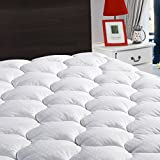 "LEISURE TOWN King Mattress Pad Cover Cooling Mattress Topper Cotton Top Pillow Top with Snow Down Alternative Fill (8-21""Fitted Deep Pocket)"