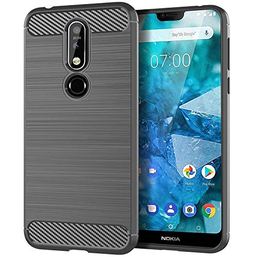 Prime Retail Plain Flexible Pudding Back Cover for Nokia 7.1 (2018) Dual Layer Carbon Fiber Hybrid Finish 47