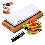 TACKLIFE Knife Sharpening Stone, 1000/6000 Dual Side Grit Whetstone, Non-Slip Bamboo Base and Angle Guide, Multipurpose Use- HSS1A