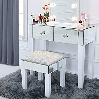 Vanity Living Mirror Dressing Table With Gloss White Wooden Legs Makeup Vanity Table Bedroom Furniture With 2 Drawers Buy Online At Best Price In Uae Amazon Ae