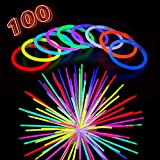 Glow Sticks Bulk Party Supplies - 100 Light Stick Bracelets - Extra Bright Glow in The Dark Party Favors - 8 Inch Bracelet Strong 6mm Thick - 9 Vibrant Neon Colors - Stuffers for Kids - Mix