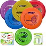 Innova Disc Golf Starter Set | 5 Beginner Discs - DX Putter, Mid-Range, Drivers - 1025 Putting Game - Flight Reference Card - Driven Mini Marker | Disc Colors Vary