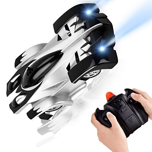 RC Car Flyglobal Remote Control Car 360°Rotating Wall Climbing Gravity Defying Mini Toy Car with Head and Rear LED Lights, Rechargeable High Speed Mini Toy Car for Boys Kids Adults Gifts