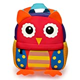 Hipiwe Little Kid Toddler Backpack Baby Boys Girls Kindergarten Pre School Bags Cute Neoprene Cartoon Backpacks for Children 0~3 Years Old (Red Owl)