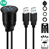 USB 3.0 Mount Cable - Powerbeast Dual USB 3.0 Extension USB Mount,Dash Mount,Flush Mount,Panel Mount Cable for Car Boat Motorcycle and Motorized DVD Receiver (3.3ft)