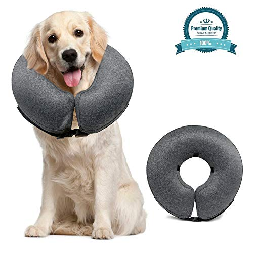 MIDOG Pet Inflatable Collar,Soft Protective Recovery Collar for Dogs and Cats to Prevent Pets from Touching Stitches, Wounds and Rashes, Does Not Block Vision E-Collar. (Large(Neck:12'-18'))