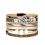 Jenia Tree of Life Leather Cuff Bracelet Personality Engraved Bangle Gorgeous Wrap Bracelet with Magnetic Buckle Bohemian Jewelry for Women, Teen Girl, Kids, Sister, Mother, Daughter Birthday Gift