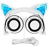 Cat Ear Headphones,MindKoo Flashing Glowing Cosplay Fancy Cat Ear Headphones Foldable Over-Ear Gaming Headsets Earphone with LED Flash light for iPhone 6S,Android Mobile Phone,PC Laptop Computer