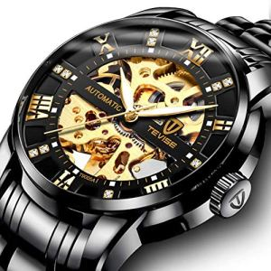 Watch,Mens Watch,Luxury Classic Skeleton Mechanical Large Face Gold Skull Stainless Steel Watch with Link Bracelet,Dress Waterproof Watch for Men 15 Fashion Online Shop 🆓 Gifts for her Gifts for him womens full figure