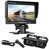 DohonesBest Dual Backup Cameras and 7' LCD Monitor System Kit for Bus/Truck/Trailer/RV/Campers Night Vision IP68 Waterpoof with ON/Off Switch Guide Lines Normal/Mirrored Pictures Optional
